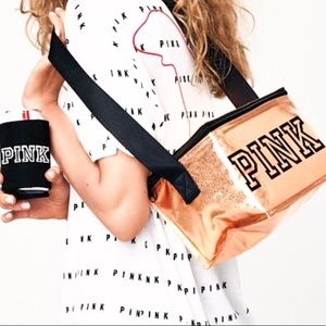 VS Pink Rose Gold Cooler with Coozie